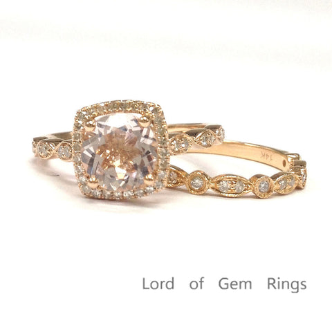 Round Morganite Engagement Ring Sets Pave Diamond Wedding 14K Rose Gold 7mm, Cushion Halo - Lord of Gem Rings - 1