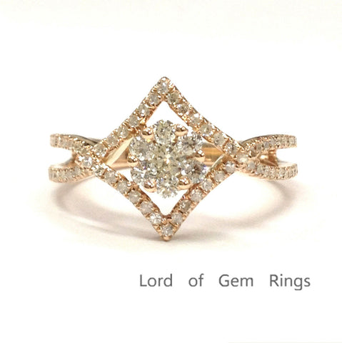 Cluster Diamond Engagement Ring 14K Rose Gold Split Shank - Lord of Gem Rings - 1