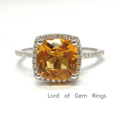 Cushion Yellow Citrine Engagement Ring Pave Diamond Wedding 14K White Gold 8mm - Lord of Gem Rings - 1