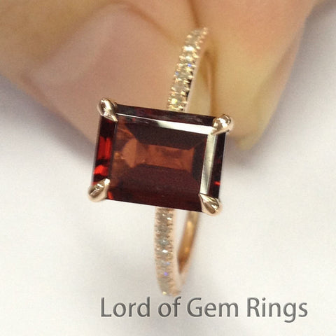 Emerald Cut Garnet Engagement Ring Pave Diamond Wedding 14K Rose Gold 6x8mm - Lord of Gem Rings - 1