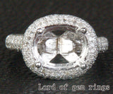 Diamond Engagement Semi Mount Ring 14K White Gold Setting Oval 9x11mm - Lord of Gem Rings - 1