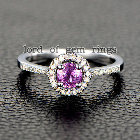 Round Pink Sapphire Engagement Ring Pave Diamond Wedding 14K White Gold 5mm - Lord of Gem Rings - 1