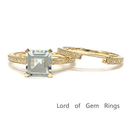 Asscher Cut Aquamarine Engagement Ring Sets Pave Diamond Wedding 14K Yellow Gold,6.5mm - Lord of Gem Rings - 1