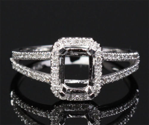 Reserved for lancool2128, Custom Two Tone Gold Diamond Semi Mount for 9x12mm Emerald cut - Lord of Gem Rings - 1