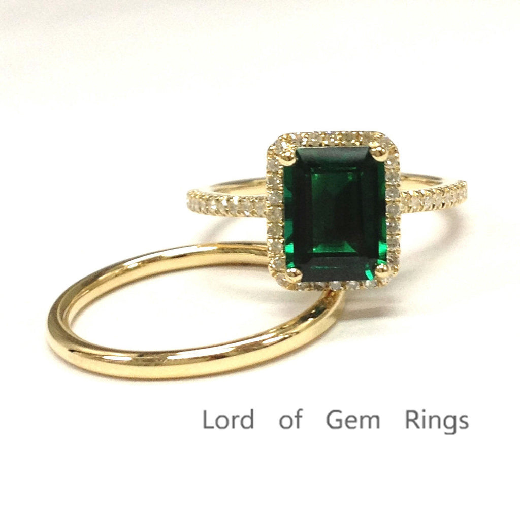 Emerald Shape Emerald Engagement Ring Pave Diamond Wedding 14K Yellow Gold 6x8mm Plain Gold Band - Lord of Gem Rings - 1