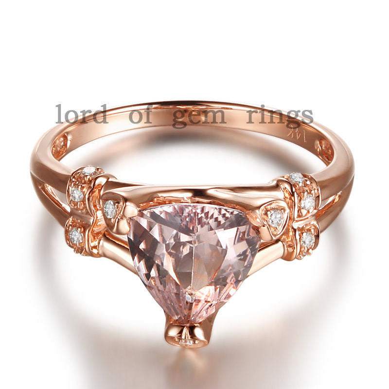 Reserved for sarah  Custom Trillion Diamond Engagement Ring Semi Mount 14K Rose Gold - Lord of Gem Rings - 1