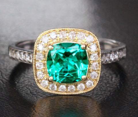 7x7mm Cushion Emerald .42ctw Diamond Halo Milgrain Engagement Ring 14k Two Tone Gold - Lord of Gem Rings - 1