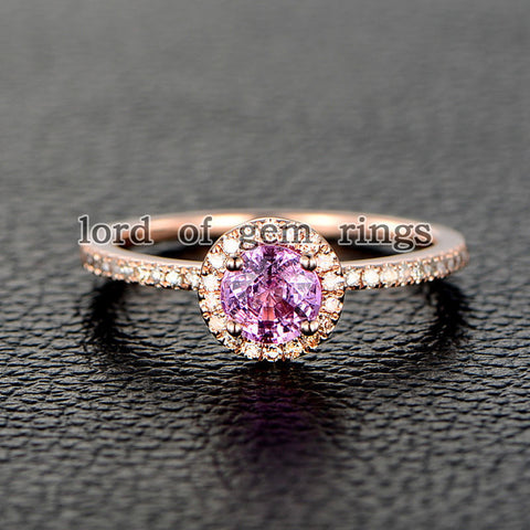 Round Pink Sapphire Engagement Ring Pave Diamond Wedding 14K Rose Gold 4.5mm - Lord of Gem Rings - 1
