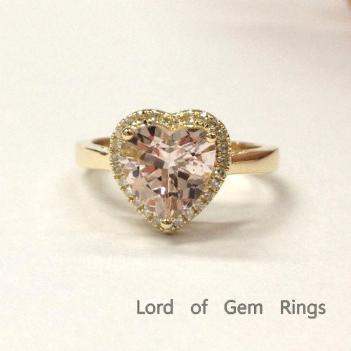 Heart Morganite Engagement Ring Diamond Halo 14K Yellow Gold 8mm - Lord of Gem Rings - 1