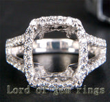 Diamond Engagement Semi Mount Ring 14K White Gold Setting Cushion 10x12mm - Lord of Gem Rings - 1