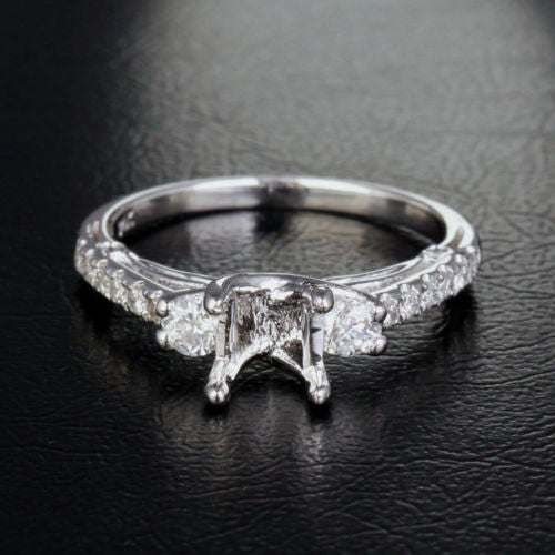 Diamond Engagement Semi Mount Ring 14K White Gold Princess 6-6.5mm - Lord of Gem Rings - 1