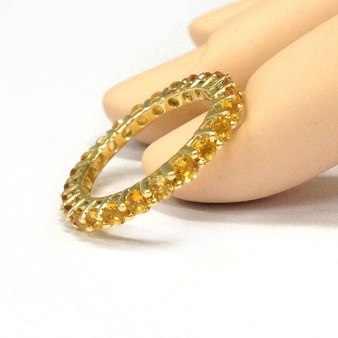 Citrine Wedding Band Eternity Anniversary Ring 14K Rose Gold - Lord of Gem Rings - 1