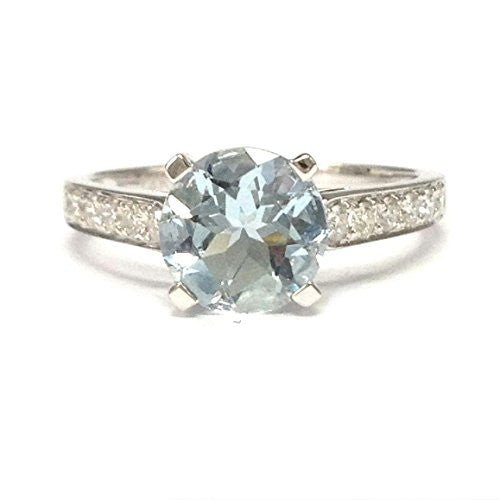 Round Aquamarine Engagement Ring Pave Diamond Wedding 14K White Gold,7mm - Lord of Gem Rings - 1