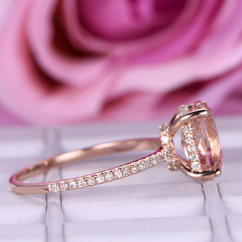 Oval Morganite Engagement Ring Diamond Hidden Halo 14K Rose Gold 7x9mm