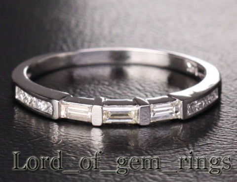 Baguette/Princess Diamond Wedding Band Half Eternity Anniversary Ring 14K White Gold - Lord of Gem Rings - 1
