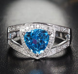 Trillion Blue Topaz Engagement Ring Diamond Wedding 14K White Gold 8mm - Lord of Gem Rings - 1