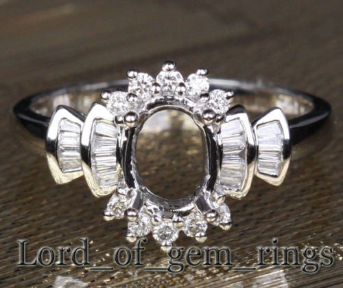 Diamond Engagement Semi Mount Ring 14K White Gold Setting Oval 6x8mm Channel - Lord of Gem Rings - 1