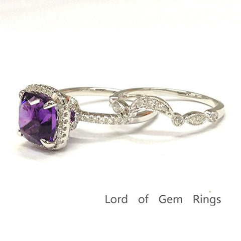 Cushion Amethyst Engagement Ring Sets Pave Diamond Wedding 14K White Gold,8mm,Art Deco Curved Band - Lord of Gem Rings - 1