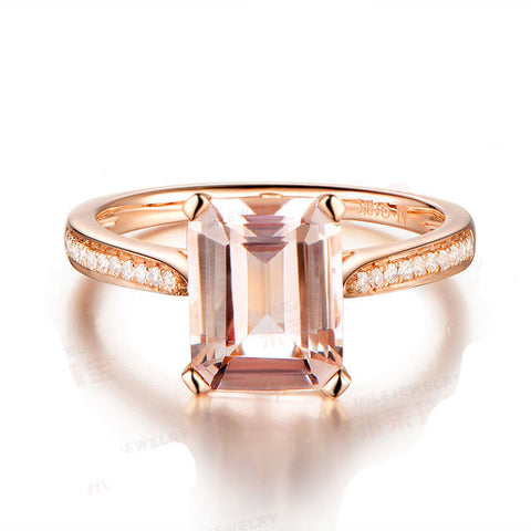 Ready to Ship - Emerald Cut Morganite Engagement Ring Pave Diamond Wedding 14K Rose Gold 6x8mm - Lord of Gem Rings - 1