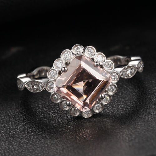 Asscher Morganite Engagement Ring Diamond Wedding 14K White Gold - Lord of Gem Rings - 1
