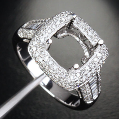 Diamond Engagement Semi Mount Ring 14K White Gold Cushion 9mm Channel - Lord of Gem Rings - 1