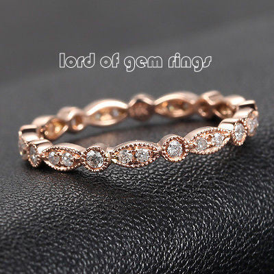 Ready to Ship-Pave Diamond Wedding Band Eternity Anniversary Ring 14K Rose Gold - SI/H Art Deco Antique Milgrain: 14KR-C1M2 - Lord of Gem Rings - 1