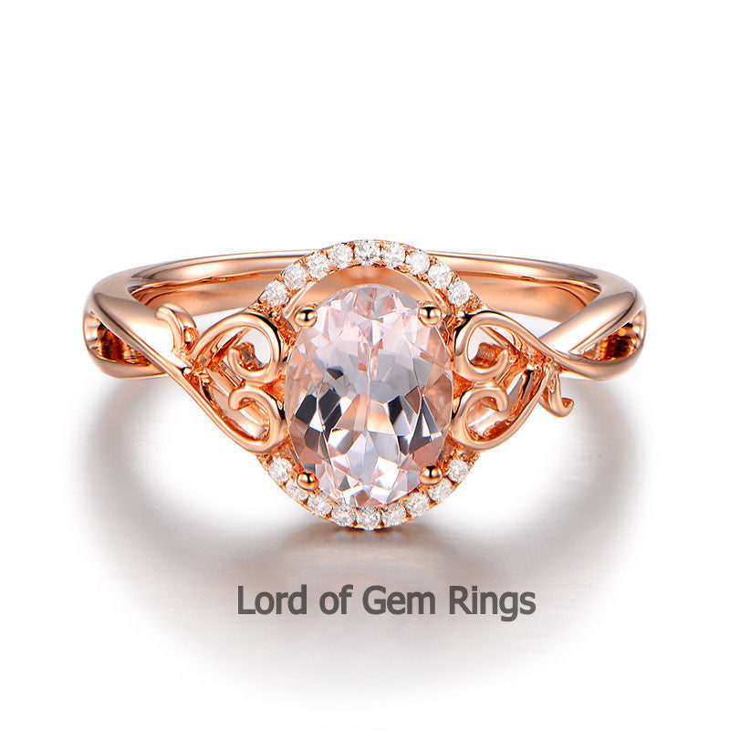 Oval Morganite Engagement Ring Diamonds 14K Rose Gold 6x8mm Floral - Lord of Gem Rings - 1
