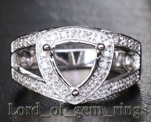 Diamond Engagement Semi Mount Ring 14K White Gold Setting Trillion 8mm - Lord of Gem Rings - 1