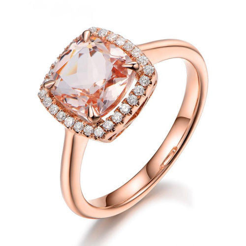 Cushion Morganite Engagement Ring Pave Diamond Wedding 14K Rose Gold 7mm - Lord of Gem Rings - 2