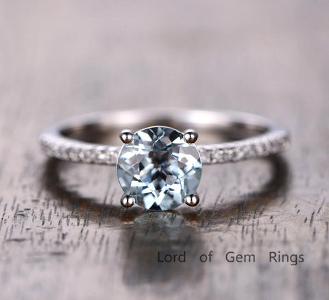 Round Aquamarine Engagement Ring Pave Diamond Wedding 14K White Gold 7mm - Lord of Gem Rings - 1