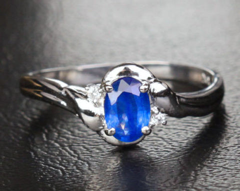 Oval Blue Sapphire Engagement ring Diamond Wedding 10k White gold 0.62ct - Lord of Gem Rings - 1