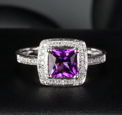 Princess Amethyst Engagement Ring Pave Diamond Wedding 14K White Gold - Lord of Gem Rings - 1