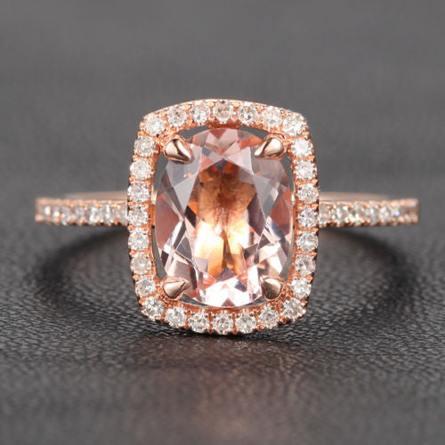 Reserved for lokasurf, 7x9mm oval morganite cushion halo ring - Lord of Gem Rings - 1