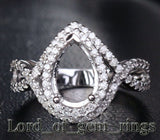 Diamond Engagement Semi Mount Ring 14K White Gold Setting Pear 7x11mm - Lord of Gem Rings - 1