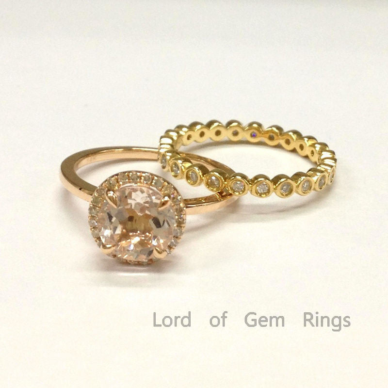 Round Morganite Engagement Ring Sets Pave Diamond Wedding 2-tone Gold 7mm Bezel Set Wedding Band - Lord of Gem Rings - 1