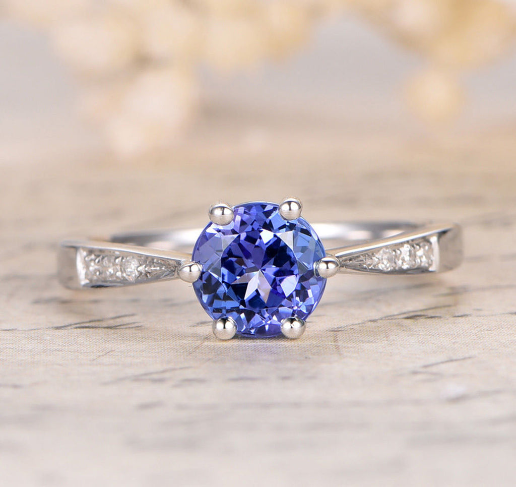 Round Tanzanite Engagement Ring Pave Diamond Wedding 14K White Gold 7mm - Lord of Gem Rings - 1