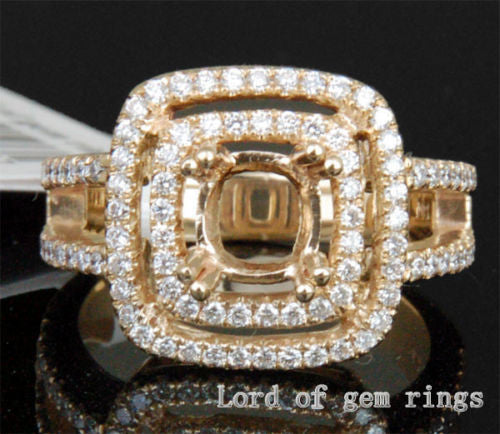 Diamond Engagement Semi Mount Ring 14k Yellow Gold Setting Cushion 6mm - Lord of Gem Rings - 1