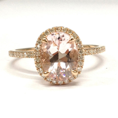 Oval Morganite Engagement Ring Pave Diamond Wedding 14K Rose Gold 7x9mm - Lord of Gem Rings - 1