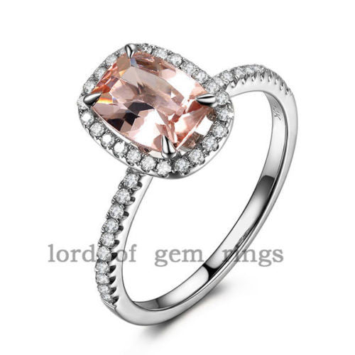 Cushion Morganite Engagement Ring Pave Diamond Wedding 14K White Gold 6x8mm Claw Prongs - Lord of Gem Rings - 1