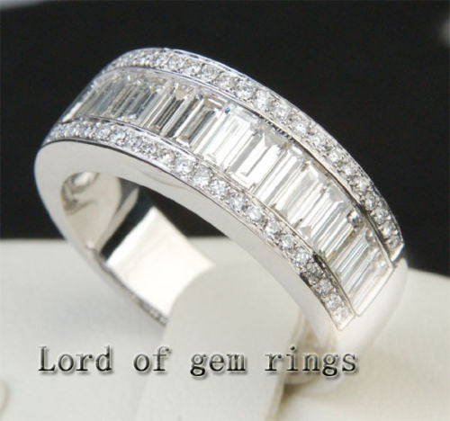 Baguette/Round Diamond  Wedding Band Engagement Ring 18K White Gold- 3.22ctw - Lord of Gem Rings - 1