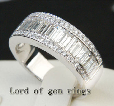 3192 BaguetteRound Diamond Wedding Band Engagement Ring 18K White