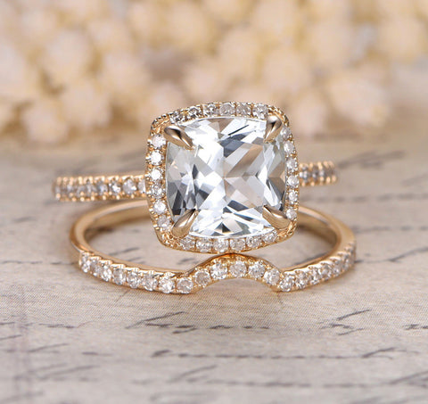 Cushion Topaz Engagement Ring Sets Pave Diamond Wedding 14K Yellow Gold 8mm Curved Band - Lord of Gem Rings - 1
