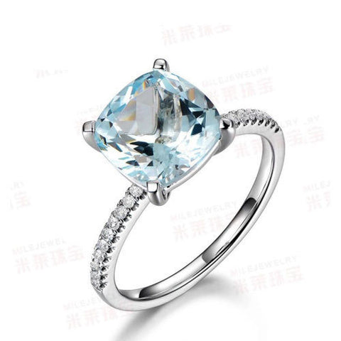 Cushion Aquamarine Engagement Ring Pave Diamond Wedding 14K White Gold 8mm - Lord of Gem Rings