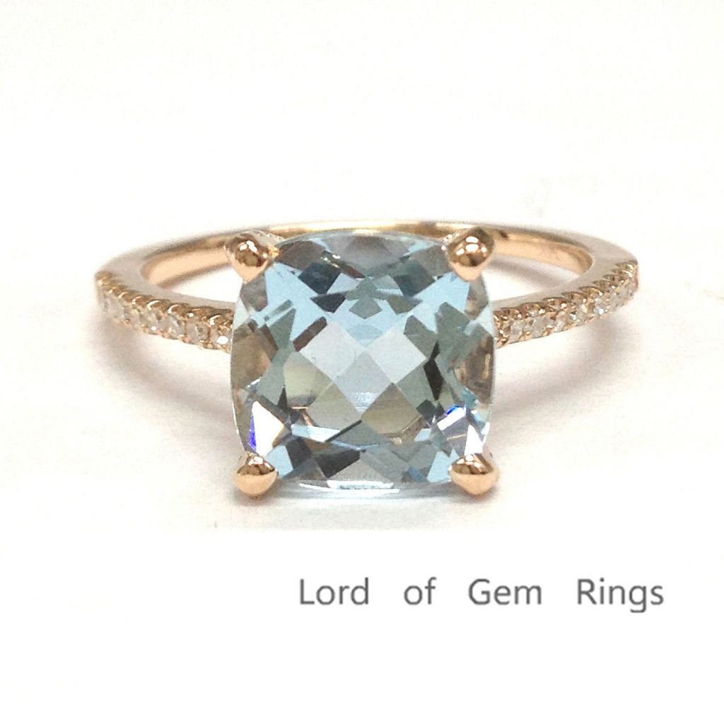 Cushion Blue Aquamarine Engagement Ring Pave Diamond Wedding 14K Rose Gold 8mm - Lord of Gem Rings - 1