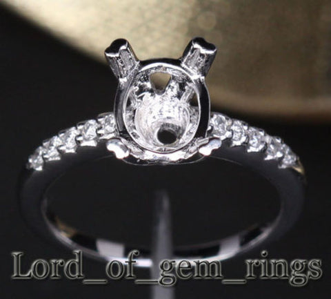 Diamond Engagement Semi Mount Ring 14K White Gold Oval 7x9mm - Lord of Gem Rings - 1