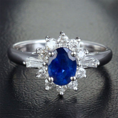 Oval Blue Sapphire Engagement Ring Diamond Halo 14K White gold 1.87ct - Lord of Gem Rings - 1