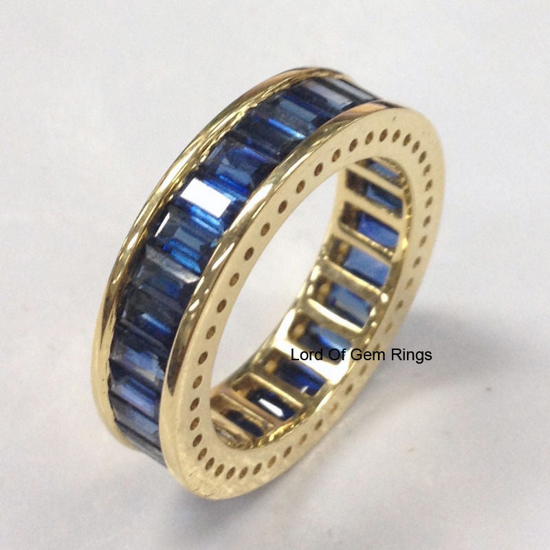 Baguette Blue Sapphire Wedding Band Eternity Anniversary Ring 18K Yellow Gold 4.10ct - Lord of Gem Rings - 1