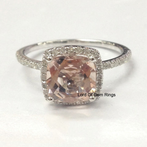 Cushion Morganite Engagement Ring Pave Diamond Wedding 14K White Gold 7mm - Lord of Gem Rings - 1