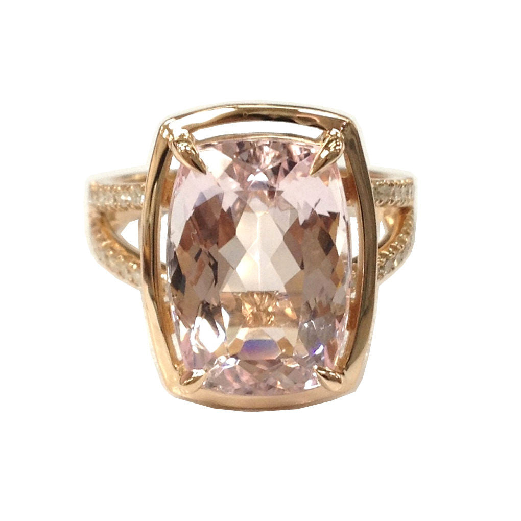 Cushion Morganite Engagement Ring Pave Diamond Wedding 14K Rose Gold 10x14mm Split Shank - Lord of Gem Rings - 1
