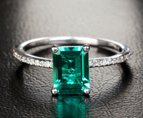 Emerald Shape Emerald Engagement Ring Pave VS/H Diamonds 14K White Gold 6x8mm - Lord of Gem Rings - 1